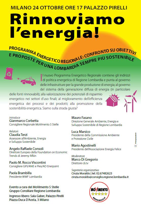 M5S Lombardia a convegno per rinnovare l'energia