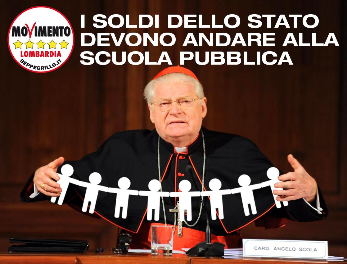 Scuola pubblica, Cardinal Scola, duro intervento politico. Perplessi per la visita in Consiglio regionale