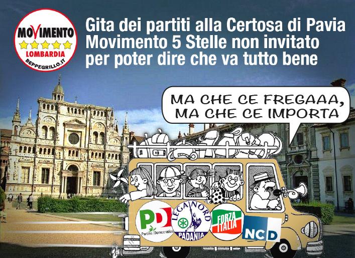 Certosa di Pavia. Partiti in visita e M5S non invitato