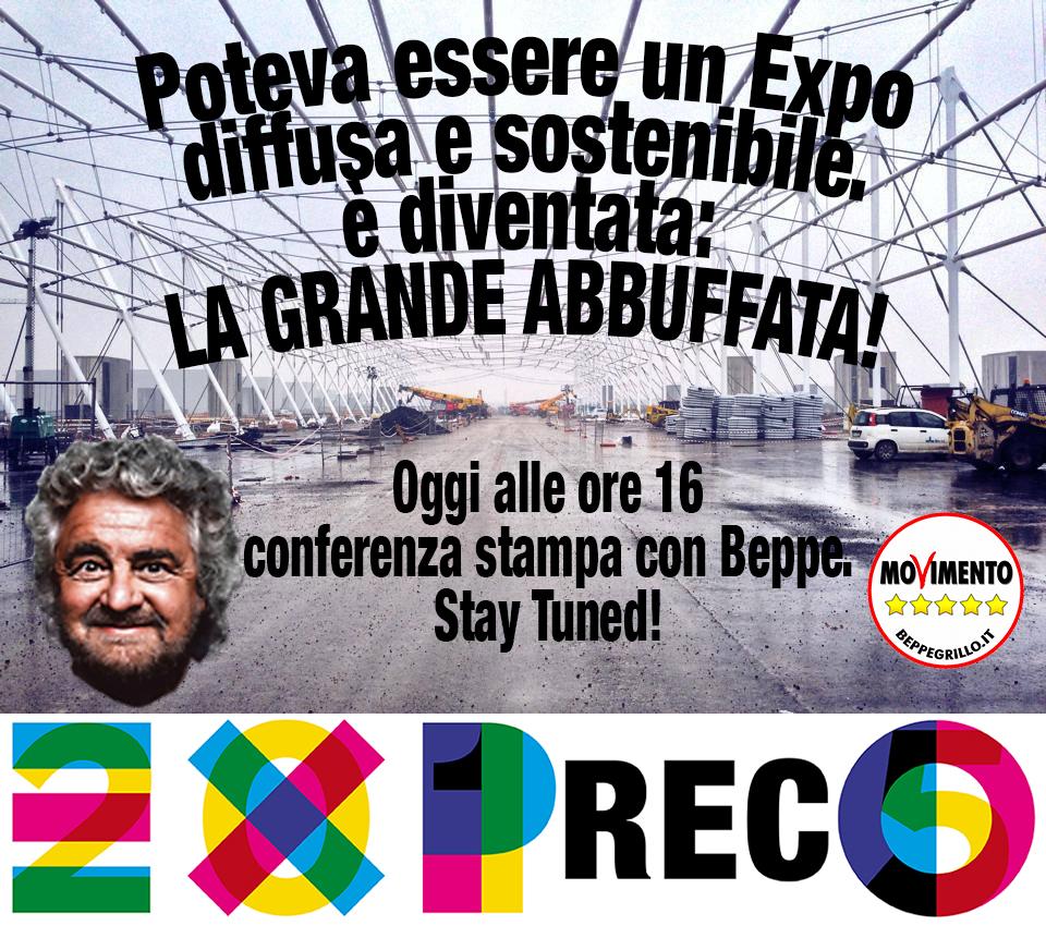 """Beppe Grillo a Milano. Conferenza stampa: """"La grande abbuffata Expo 2015"""""""