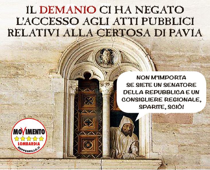Vittoria sul caso della Certosa di Pavia: ora il Demanio ci dia i documenti!