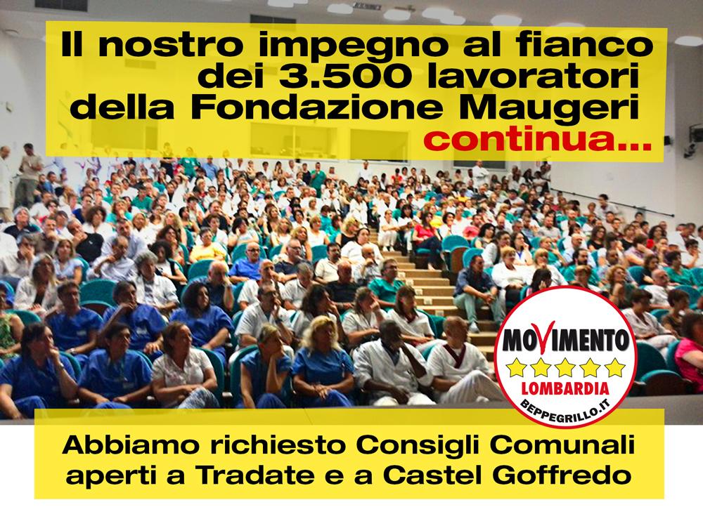 M5S chiede Consigli Comunali aperti a Tradate e Castel Goffredo per i lavoratori della Fondazione Maugeri