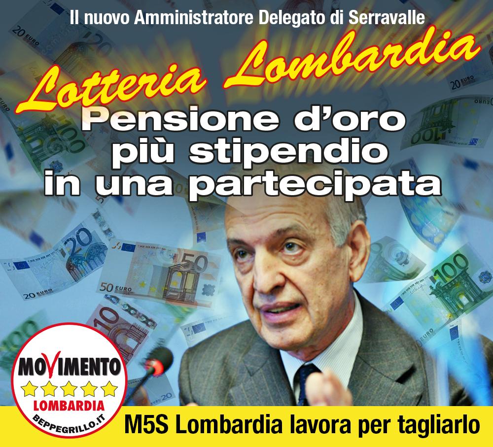 Lotteria Lombardia: pensione d'oro più stipendio per l'a.d di Serravalle