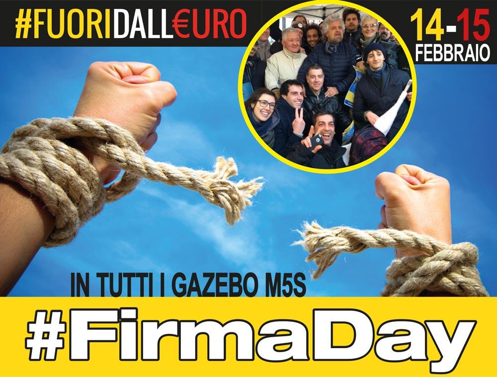 14 e 15 febbraio: #Firmaday M5S per andare fuori dall'€uro!