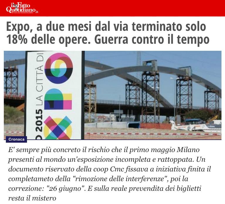 """Expo aprirà senza bonifiche sul sito, la denuncia di M5S su """"Il Fatto Quotidiano"""""""