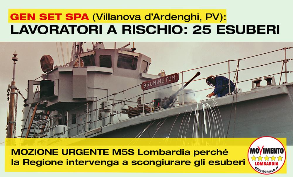 Mozione urgente M5S Lombardia per i lavoratori della GEN SET SPA