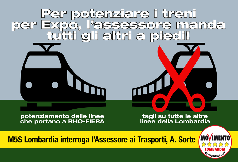 Treni e Expo: linea Rho-Fiera potenziata e tutti gli altri a piedi. M5S interroga Assessore ai Trasporti sui tagli al servizio.