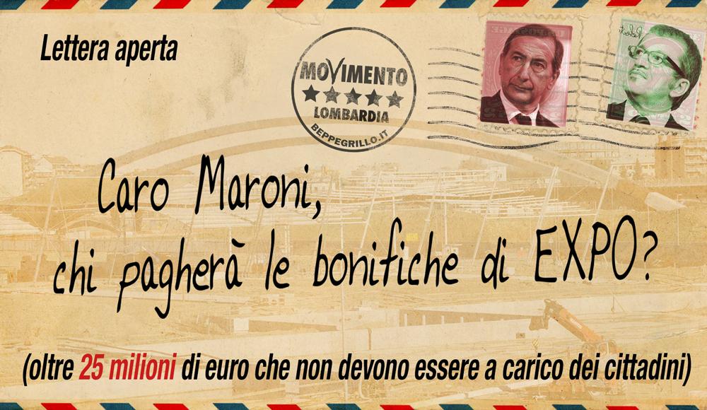 Le bonifiche di Expo non sono a carico dei cittadini: M5S scrive lettera aperta a Maroni