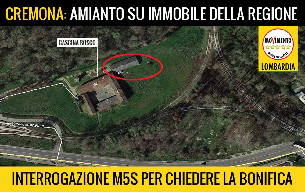 M5S Lombardia chiede la bonifica da amianto di Cascina Bosco a Cremona, un immobile di proprietà regionale