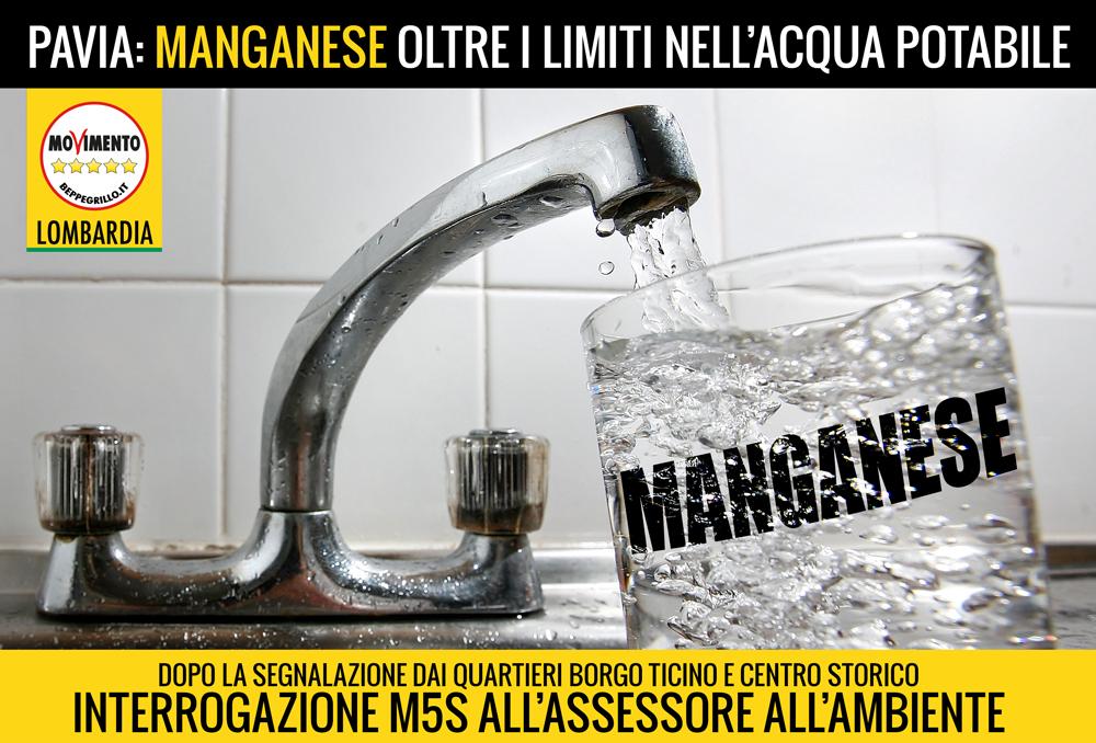 Allarme manganese nell'acqua potabile di Pavia: interrogazione M5S Lombardia