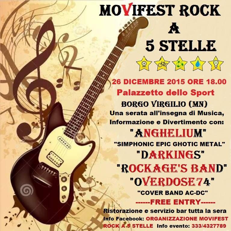 Mantova, MoViFest Rock: a Borgo Virgilio sabato 26 dicembre la festa del M5S