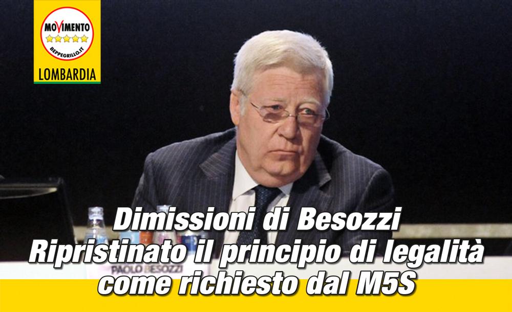 Dimissioni Besozzi, riconfermato il principio di legalità