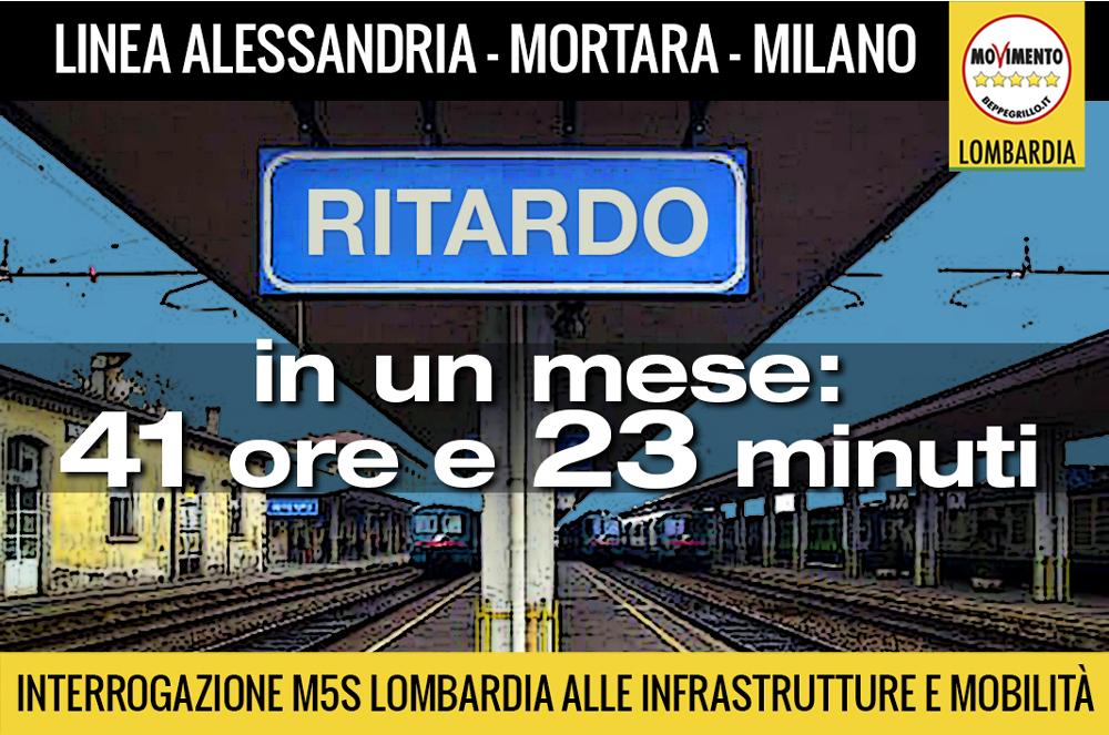 Trasporti: interrogazione M5S Lombardia sulla Milano-Mortara: in un mese accumulati ritardi per 41 ore e 23 minuti!
