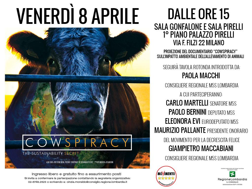 """Venerdì 8 aprile proiezione del documentario """"COWSPIRACY"""""""