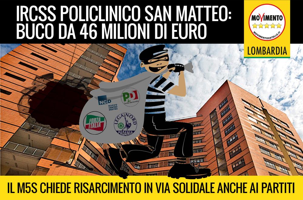 Policlinico San Matteo (Pavia) buco da 46milioni: ora i partiti risarciscano in solido
