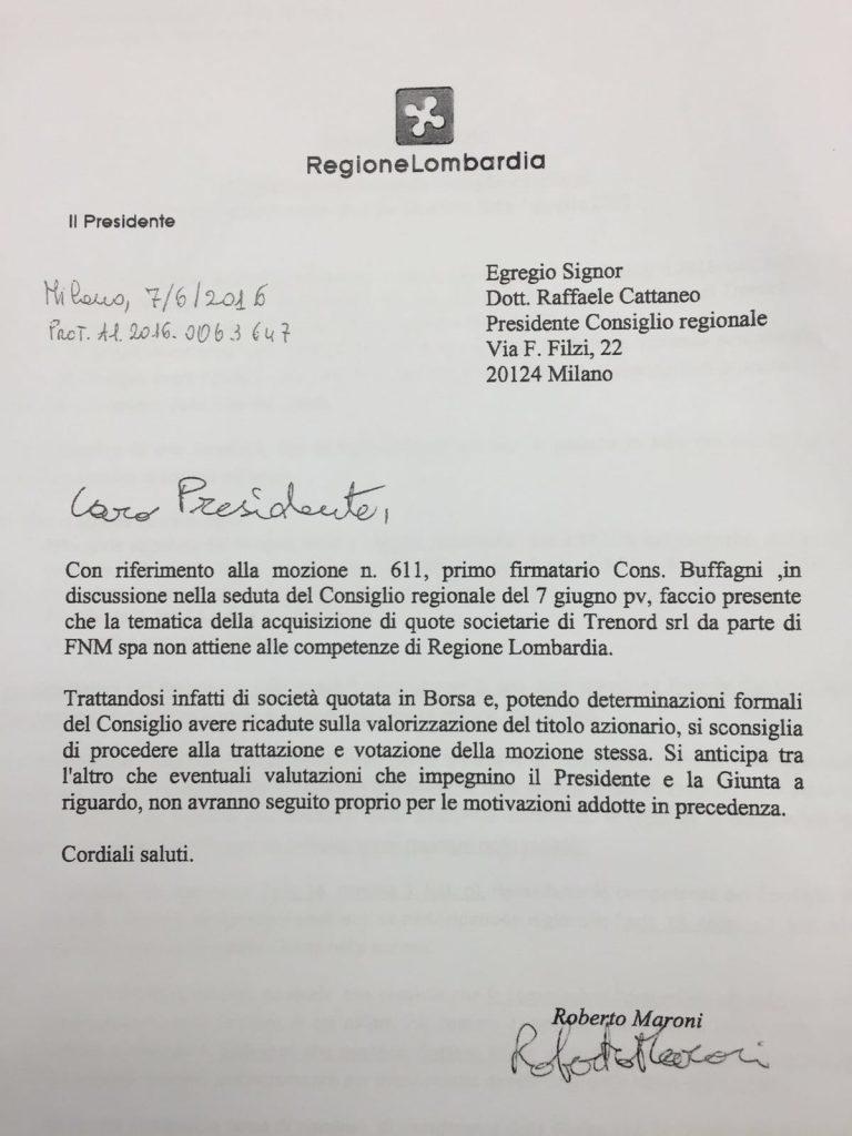Lettera Maroni Trenord