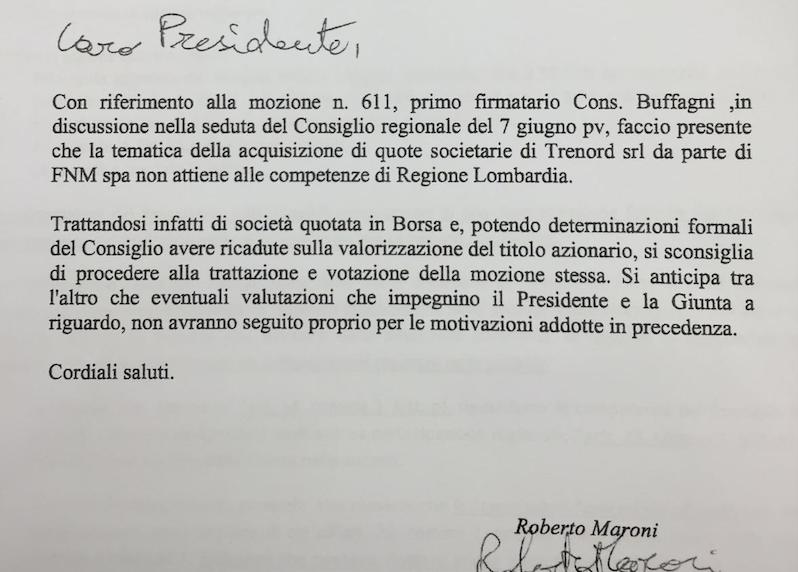No a cessione quote TRENORD a FS: mozione M5S. Il PD si astiene, Maroni tenta la censura.