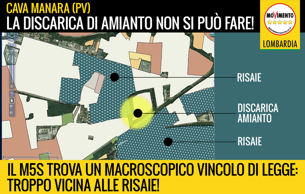 STOP alla discarica di amianto di Cava Manara (PV): troppo vicina alle risaie, lo vieta la legge!