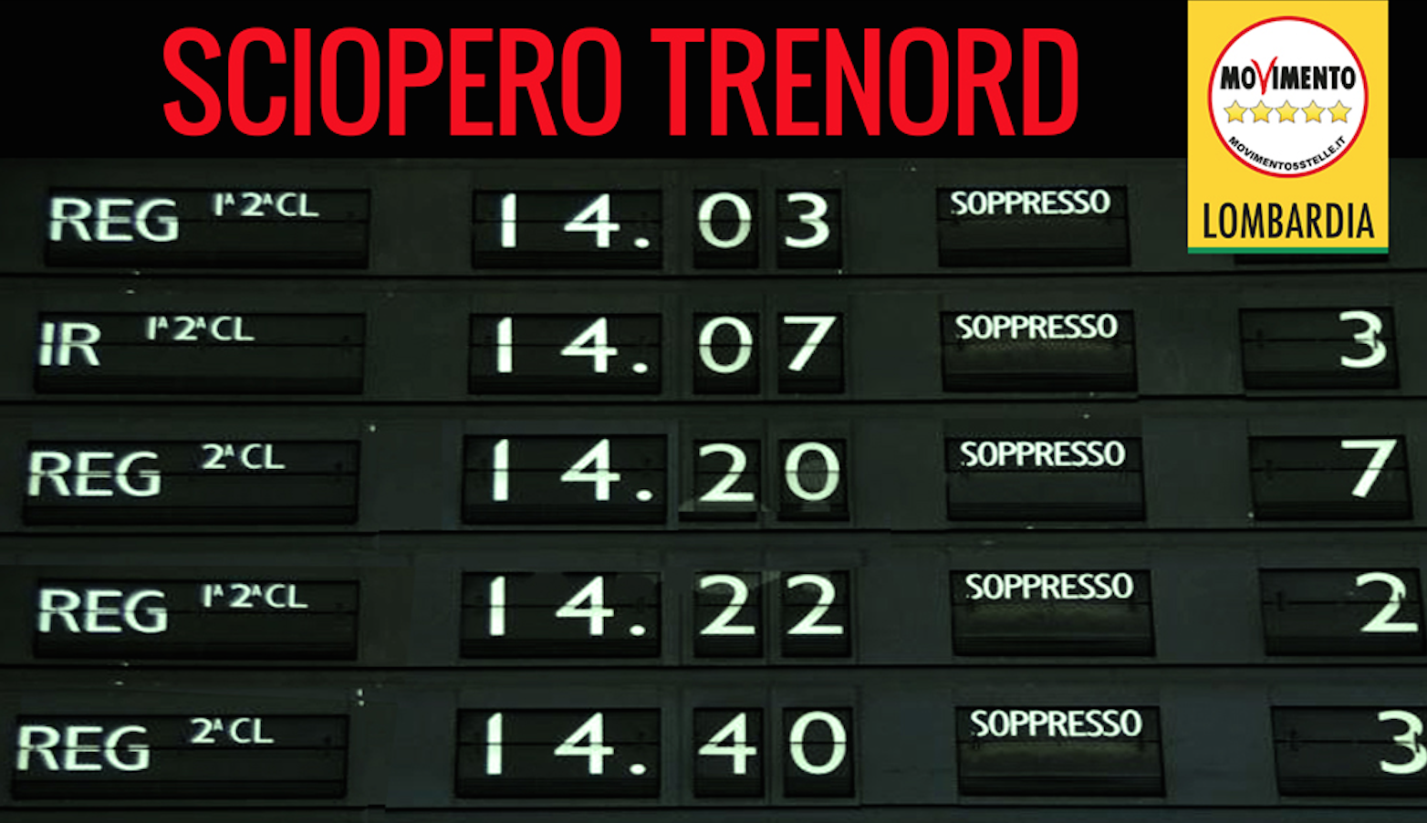 Sciopero Trenord. M5S segnala all'Autorità Garante il mancato rispetto delle fasce di garanzia