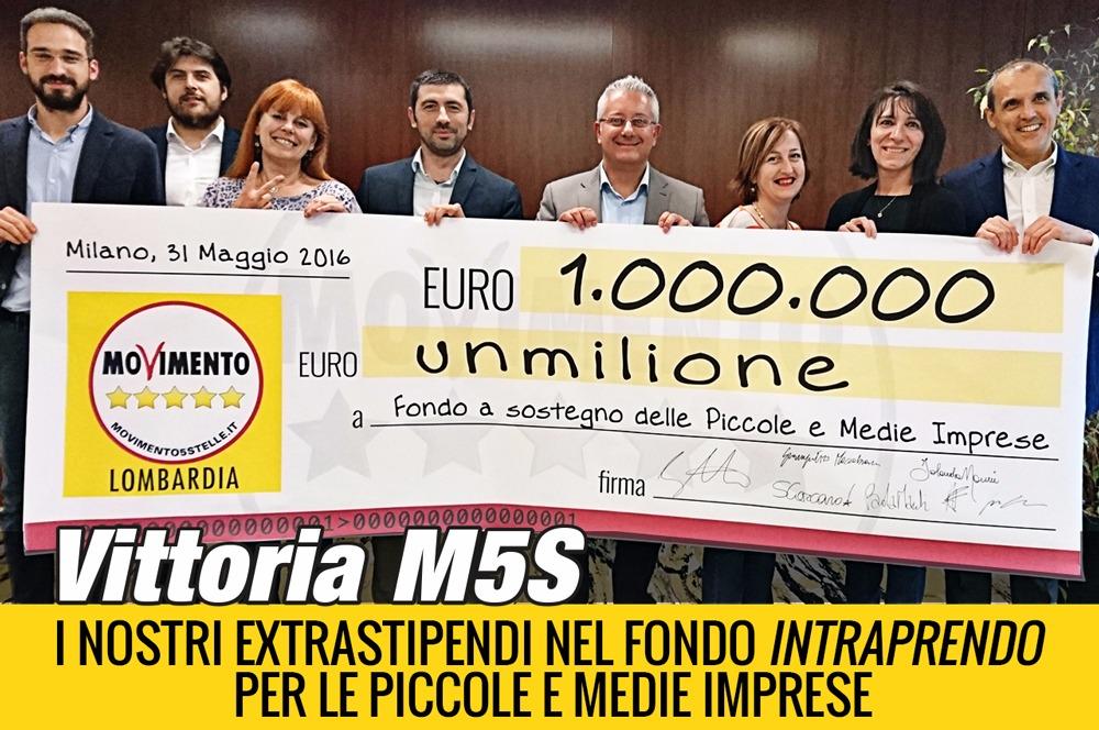 Un milione di euro dal M5S alle imprese lombarde