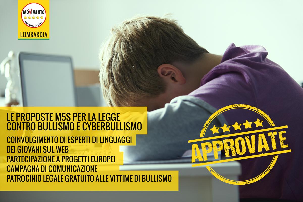 Bullismo e cyberbullismo: il M5S Lombardia ha migliorato la legge regionale.