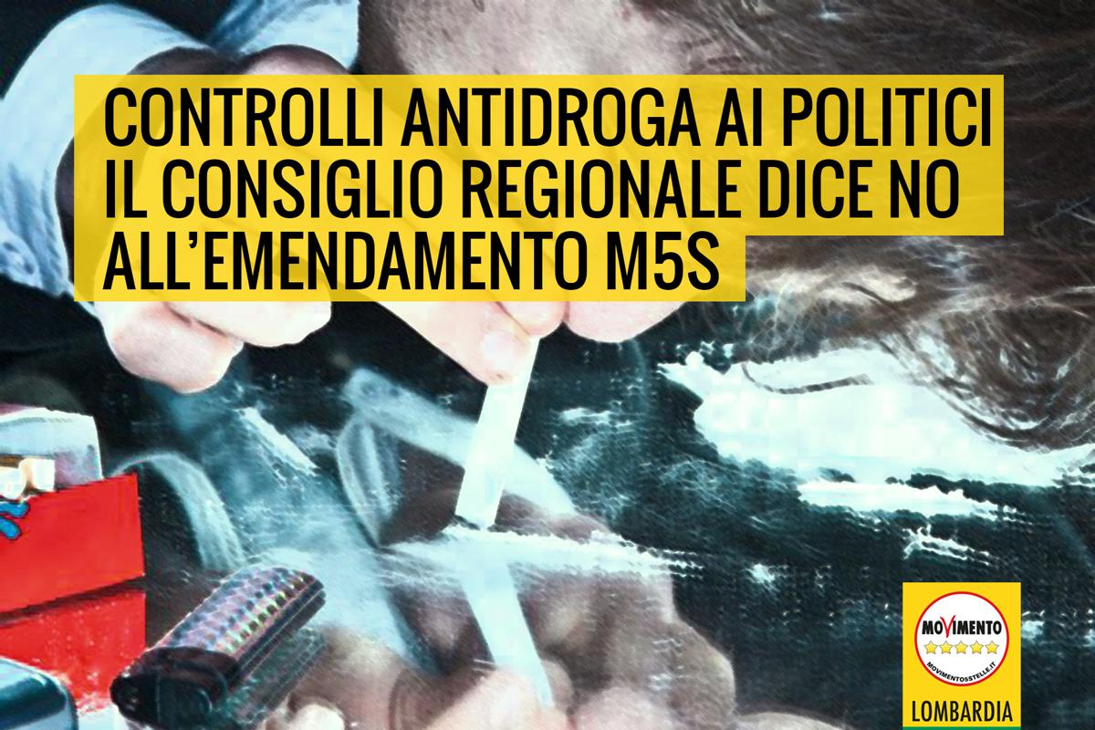 Controlli antidroga ai politici, il Consiglio regionale boccia emendamento del M5S Lombardia.