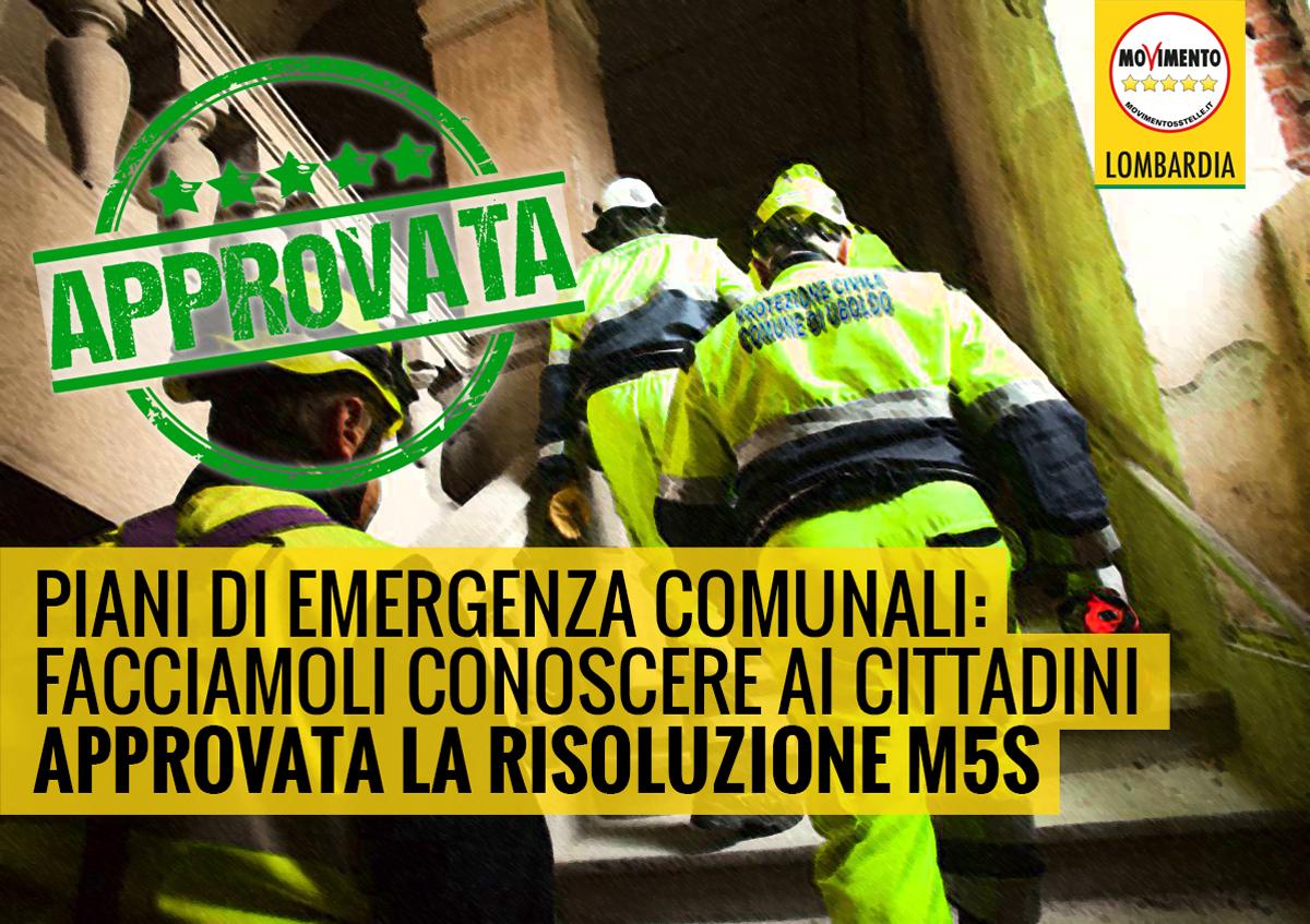 Più risorse per i Piani di emergenza comunale, approvata risoluzione del M5S Lombardia!
