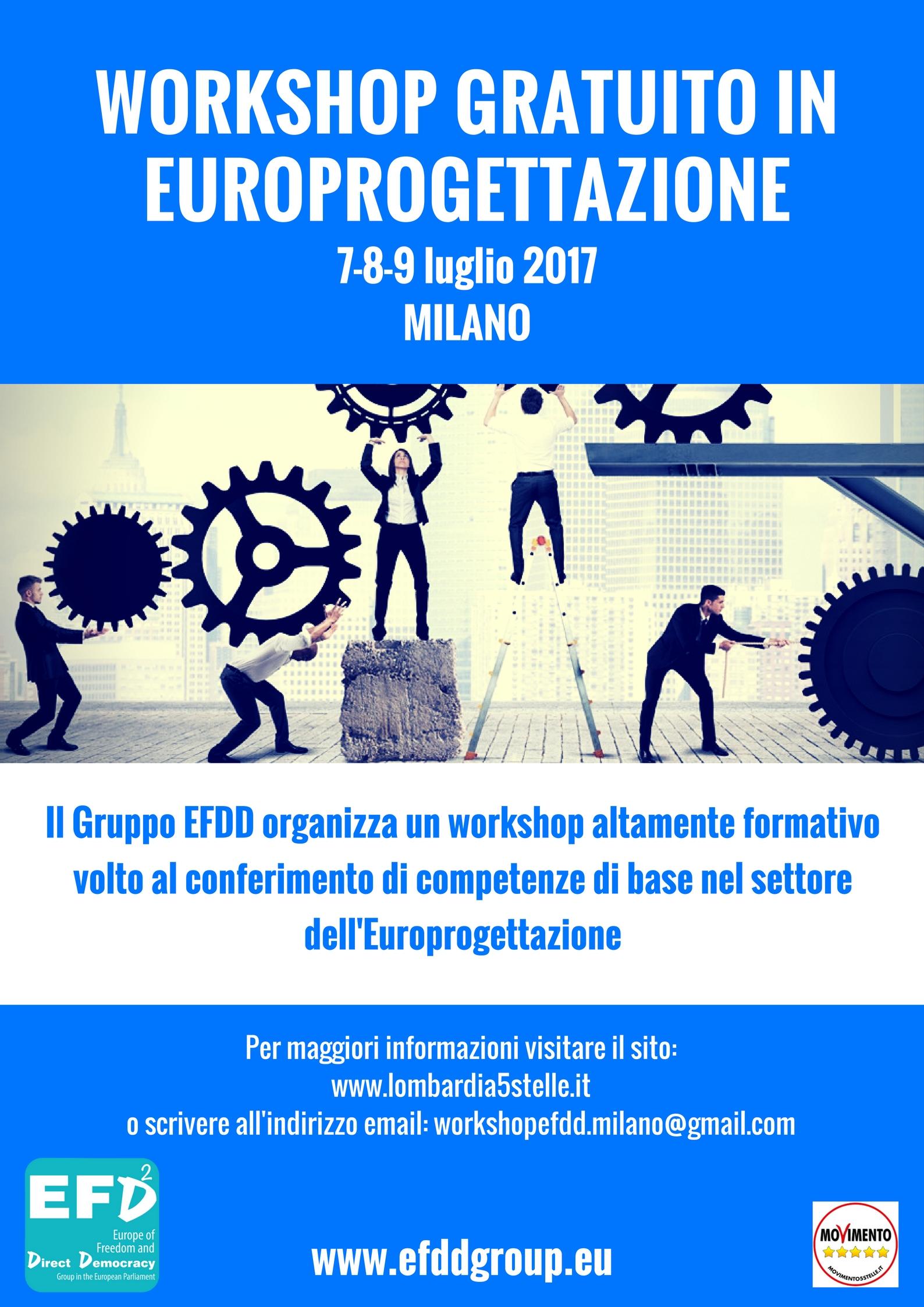 Workshop gratuito in Europrogettazione il 7-8-9 luglio a Milano.