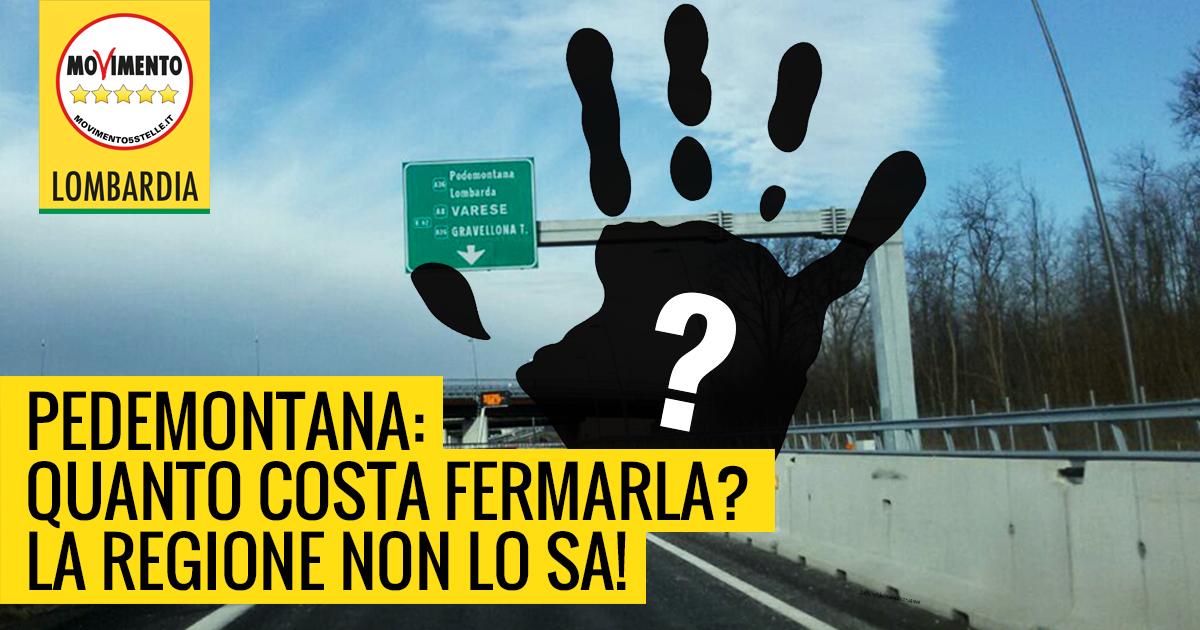 Stop Pedemontana, il M5S Lombardia chiede il conto… che non c'è!
