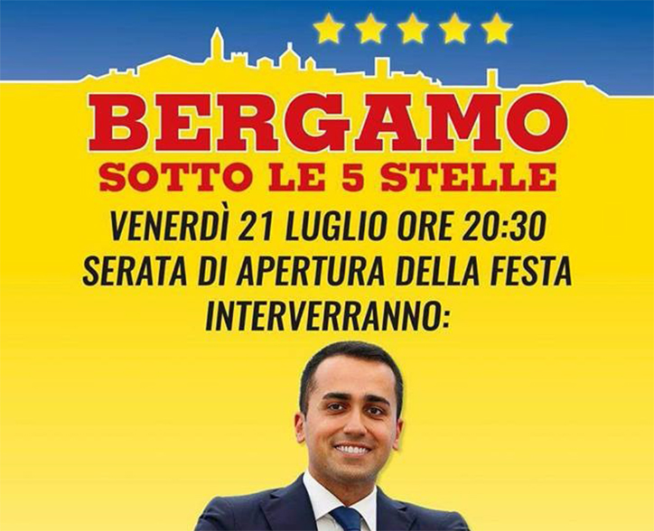 """Bergamo sotto le Cinque Stelle"""". Il 21, 22 e 23 luglio la festa del M5S tra partecipazione, informazione e musica."""