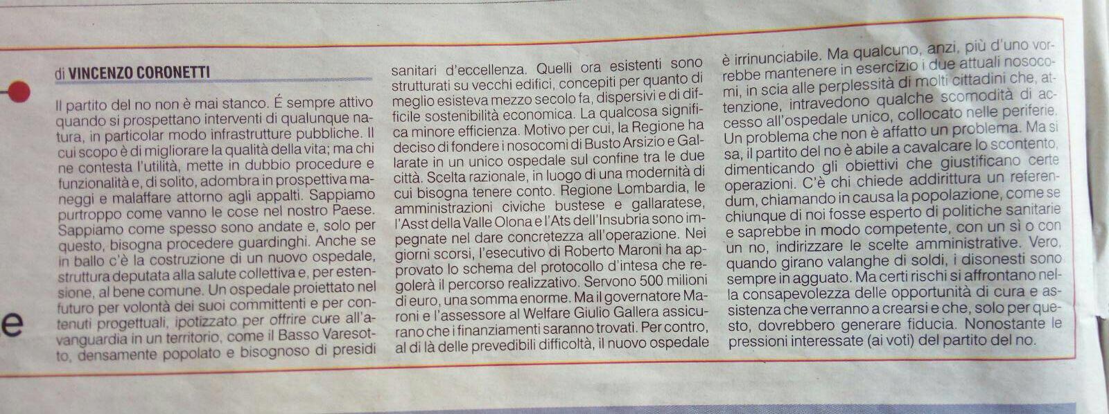 Nuovo ospedale. A Varese si fa giornalismo o propaganda per il sì?