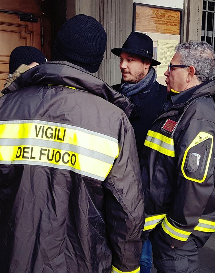 Santa Barbara, Dario Violi incontra i Vigili del Fuoco a Bergamo.