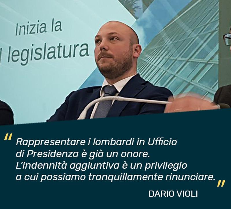 Dario Violi eletto in Ufficio di Presidenza rinuncerà all'indennità.