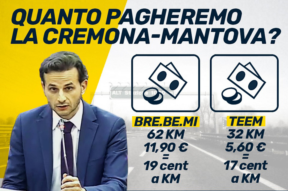 Cremona – Mantova, M5S: quali saranno i costi per i cittadini?