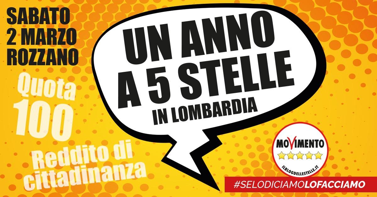 """""""Un anno a 5 Stelle"""", sabato 2 marzo l'evento anniversario del M5S a Rozzano"""