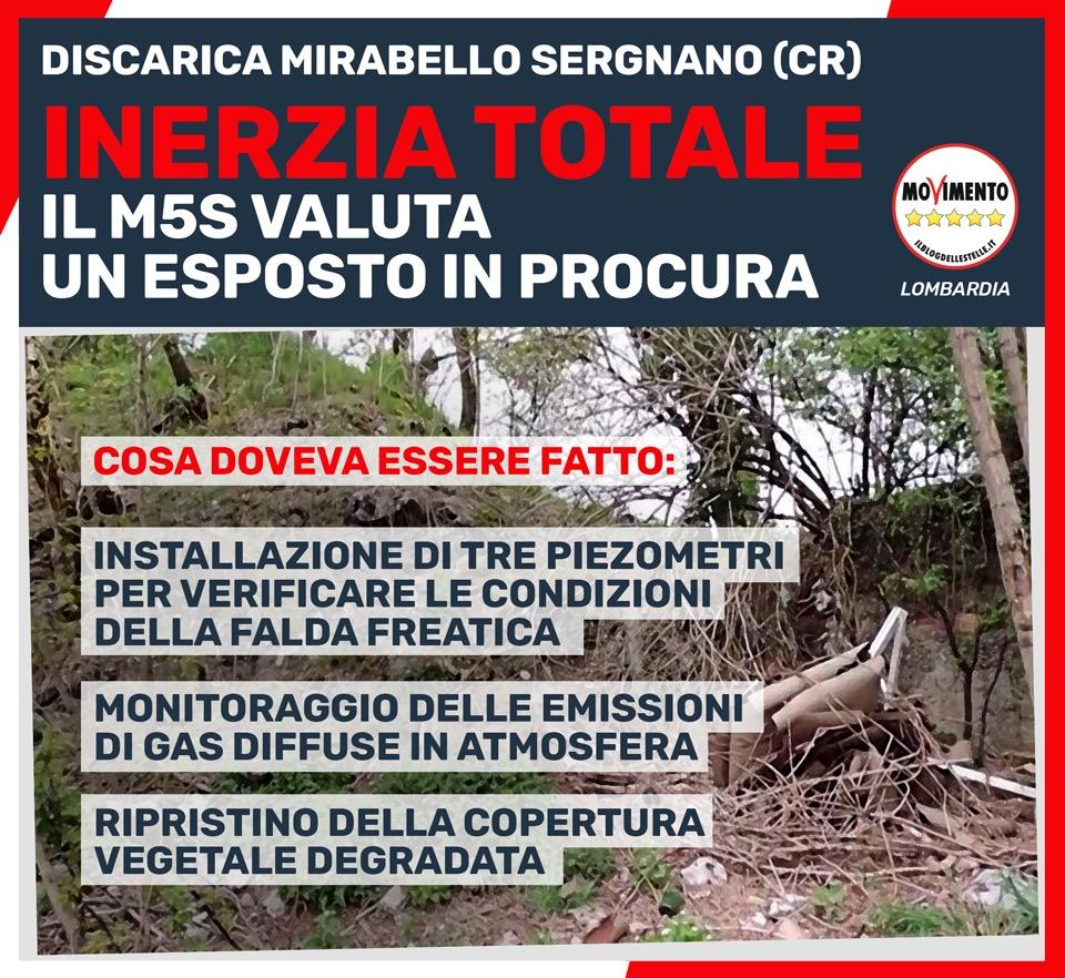 """Discarica Mirabello-Sergnano (Cremona): """"inerzia totale, valutiamo esposto"""""""