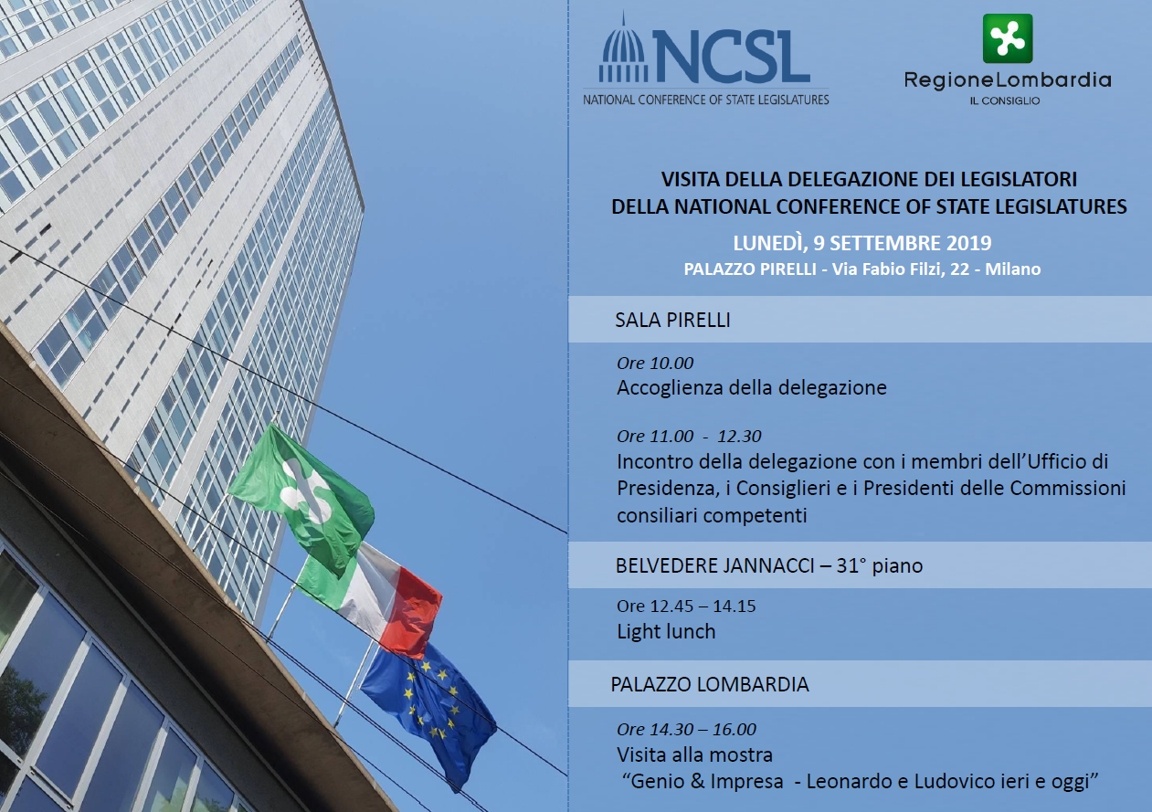 Incontro in Regione con la National Conference of State Legislature
