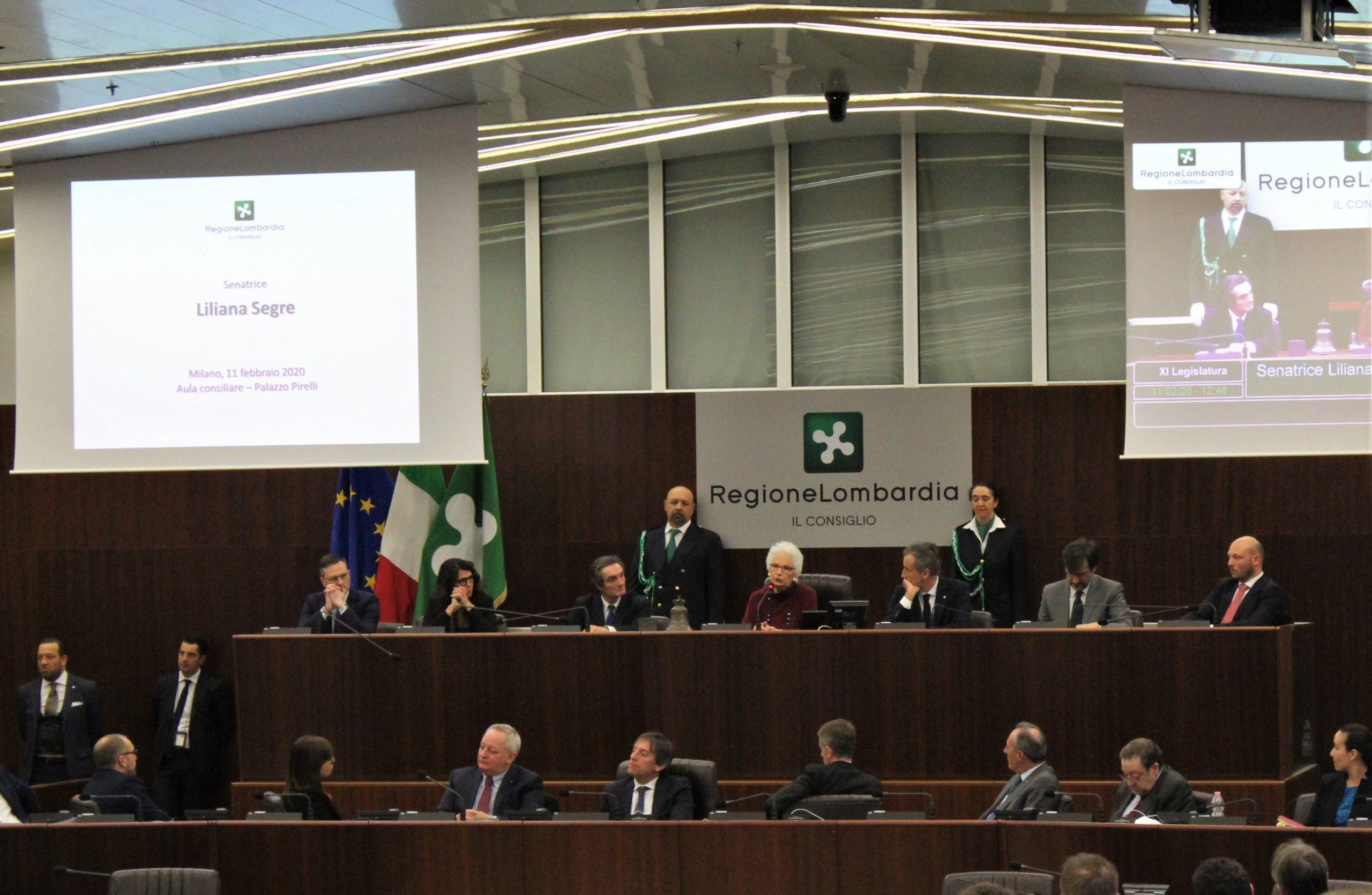 Liliana Segre in visita al consiglio regionale della Lombardia